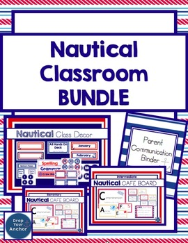 Nautical classroom BUNDLE: Decorations, Parent Communicati