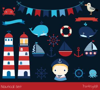 Nautical clip art, Sailing clipart, Sailboats, Lighthouse, Anchor, Sailor boy