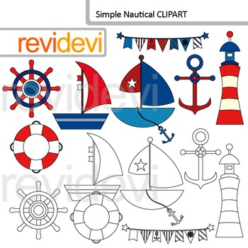 Nautical clip art and blackline graphics