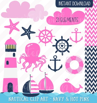 Nautical clip art - navy and hot pink
