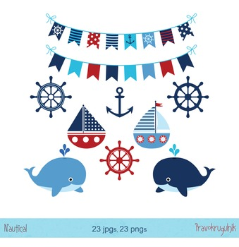 Nautical clip art set, Boy nautical collection, Whales clipart, Boats, Buntings
