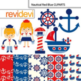 Nautical clipart: Red Blue Nautical clip art (kids, anchor, boat, lighthouse)