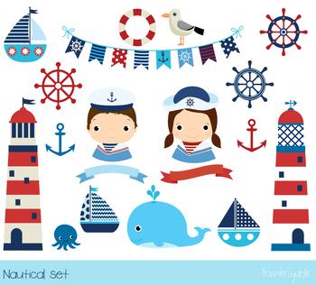 Nautical clipart, Sailboat clip art, Lighthouse clipart, Sailor, anchor, whale