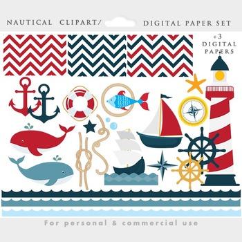 Nautical clipart - ship clip art, sailor clipart, lighthouse, ocean, sea