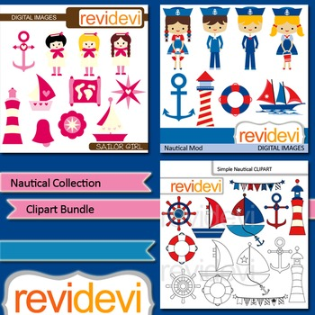 Nautical collection clip art bundle (3 packs)