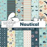Nautical digital paper  Navy Digital Paper Nautical Digita