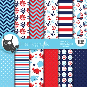 Nautical digital paper, commercial use, scrapbook papers, floral - PS693