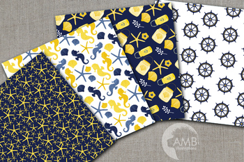 Nautical digital papers, Wedding papers, Beach paper AMB-1954