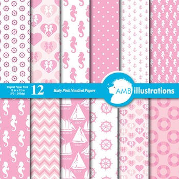Nautical digital papers in baby pink, Coastal papers, AMB-188