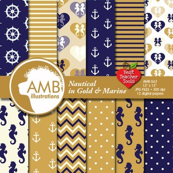Nautical digital papers in gold and marine, Coastal papers