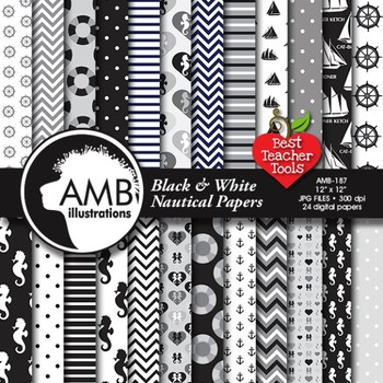 Nautical Digital Papers in Black and White, Coastal Papers, AMB-187