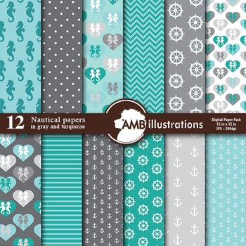 Digital Papers, Nautical papers and backgrounds in Turquoise and Gray, AMB-562
