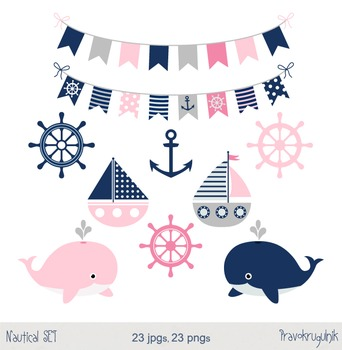 Nautical girl clip art set, Boats, anchors, whales in blue, pink and grey