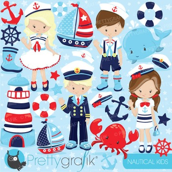 Nautical kids clipart commercial use, vector graphics, digital - CL800