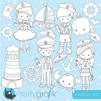 Nautical kids stamps commercial use, vector graphics, images - DS800