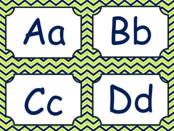 Nautical lime and navy word wall letters