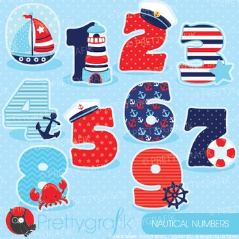 Nautical numbers clipart commercial use, graphics, digital clip art - CL904