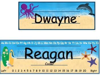 Nautical or Beach Theme Name Plates (Editable)