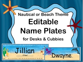 Nautical or Beach Theme Name Plates (Editable)