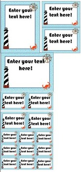 Nautical or Beach Theme Signs and Labels (Editable)