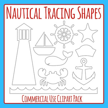 Nautical or Sea Themed Tracing Shapes for Fine Motor Control or Scissor Practice