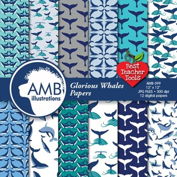 Digital Papers - Nautical papers Whales papers and backgro