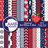Digital Papers - Nautical Digital Papers,Red, White and Bl