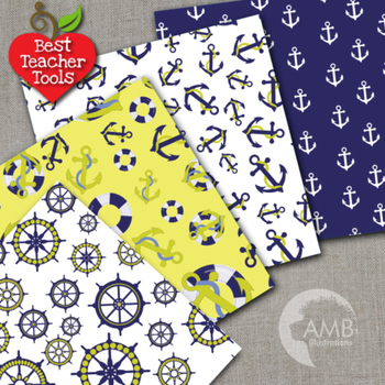Digital Papers - Nautical papers and Backgrounds AMB-519