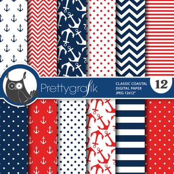 Nautical papers, commercial use, scrapbook papers, coastal - PS766