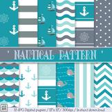 Nautical patterns, Digital Papers, Nautical background, Pe