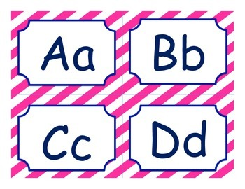 Nautical pink and navy word wall letters