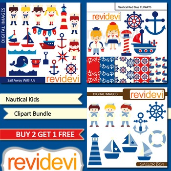 Nautical sail away kids clip art (3 packs) sailor, boat, anchor (red, blue)