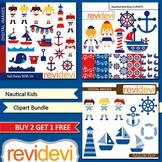 Nautical sail away kids clip art (3 packs) sailor, boat, anchor (red, blue)