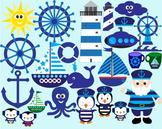 Nautical sailing boat ocean anchor hat sailor bunting birthday party Clipart-027