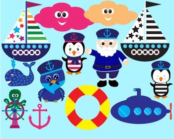 Nautical sailing boat ocean anchor hat sailor bunting birthday party Clipart-027