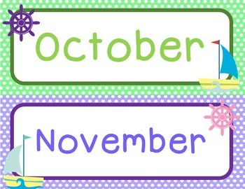 Nautical theme | Months and Days of the week | pocket chart and sorting activity
