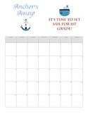 Nautical theme calendar August 2013