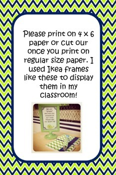 Nautical theme lime and navy 4x6 signs for your classroom