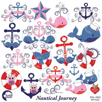 Nautical Clipart in Red and Blue, Sailing Clipart, Coastal Clip Art, AMB-808