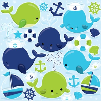 Nautical whale clipart commercial use, vector graphics, digital  - CL970