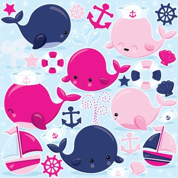 Nautical whale clipart commercial use, vector graphics, di