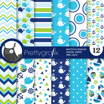 Nautical whale papers, commercial use, scrapbook papers - PS804