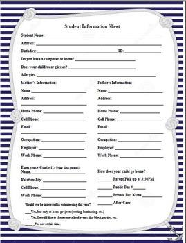 Nautical/Anchors Theme - Student Information Sheet