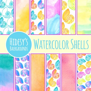 Nautilus Watercolor Background / Digital Papers / Patterns Commercial Use