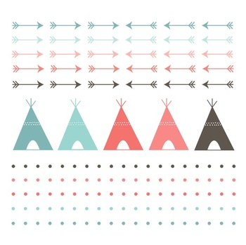 Navaho Teepees and Arrows { Digital Clip Art and Borders }