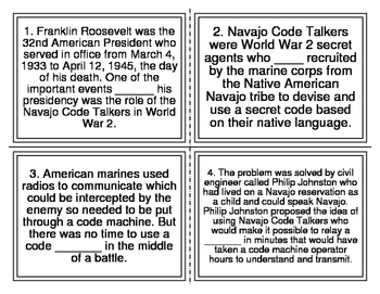 Navajo Code Talkers Cloze Task Cards (28 Cards)
