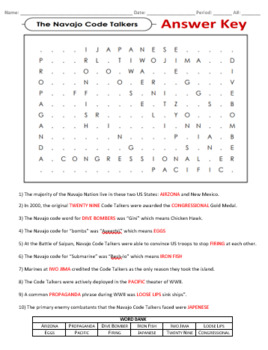 Navajo Code Talkers Fill in The Blank and Word Search