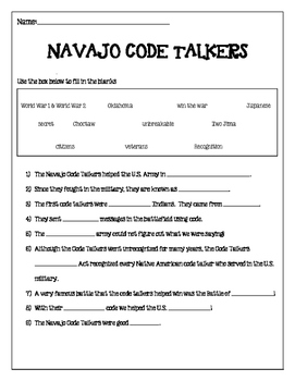 Navajo Code Talkers Fill in the Blank