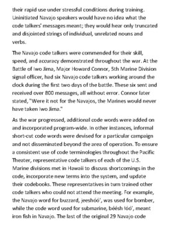 Navajo Code Talkers Handout