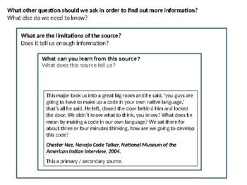 Navajo Code Talkers Source Analysis Activity